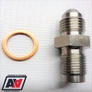 "Garrett Turbo 1mm Restrictor Oil Feed Stainless Adapter - AN-4 (4AN) To 7/16""x24"